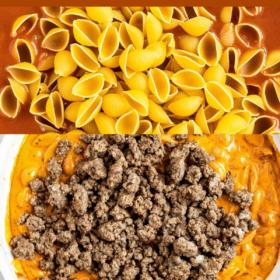 Pinterest collage image of hamburger helper with process shots.