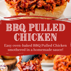 Pinterest collage image of bbq pulled chicken on a slider and being lifted by tongs with wording in center.