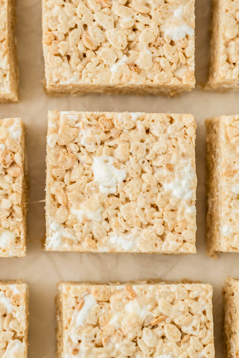 Marshmallow rice krispie treats cut into squares.