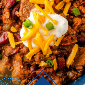 Easy chili in a bowl with toppings with wording on bottom for Pinterest.