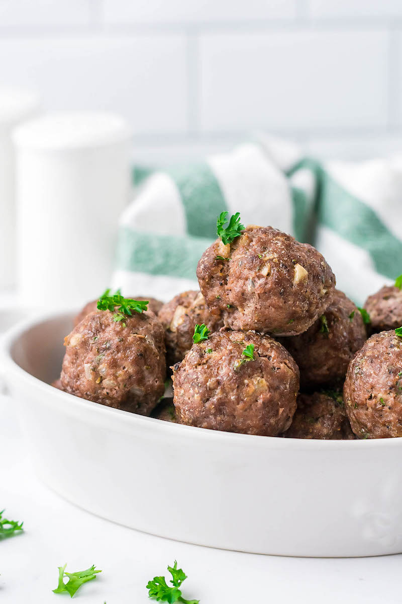 Bowl of oven baked meatballs.