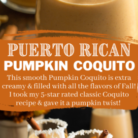 Collage image of Pumpkin Coquito with two images and wording in the center for Pinterest.