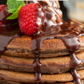 Pinterest image of chocolate chip pancakes with chocolate sauce on top and lettering.