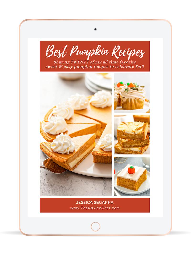 Best Pumpkin Recipes Ebook cover on an iPad screen.