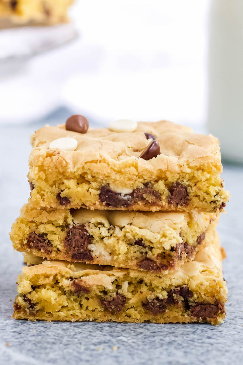 Stack of 3 cake mix cookie bars.