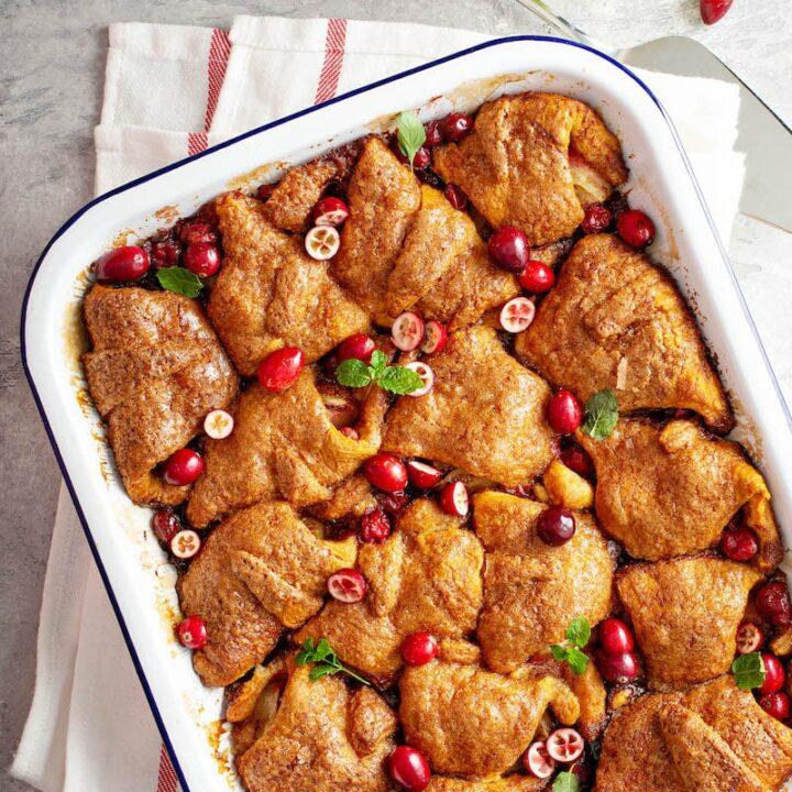 Pan of cranberry apple dumplings.