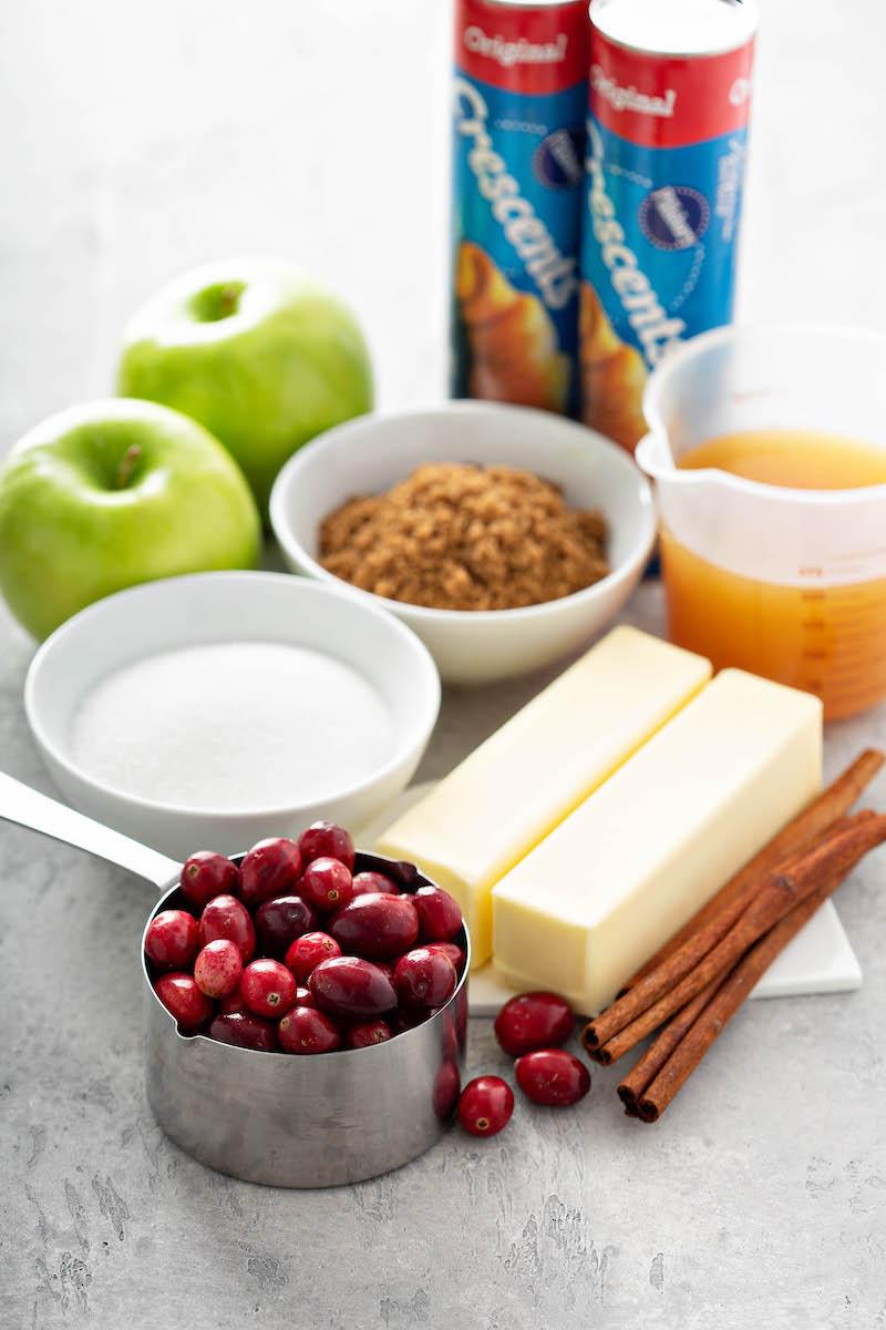 Ingredients for apple dumplings.