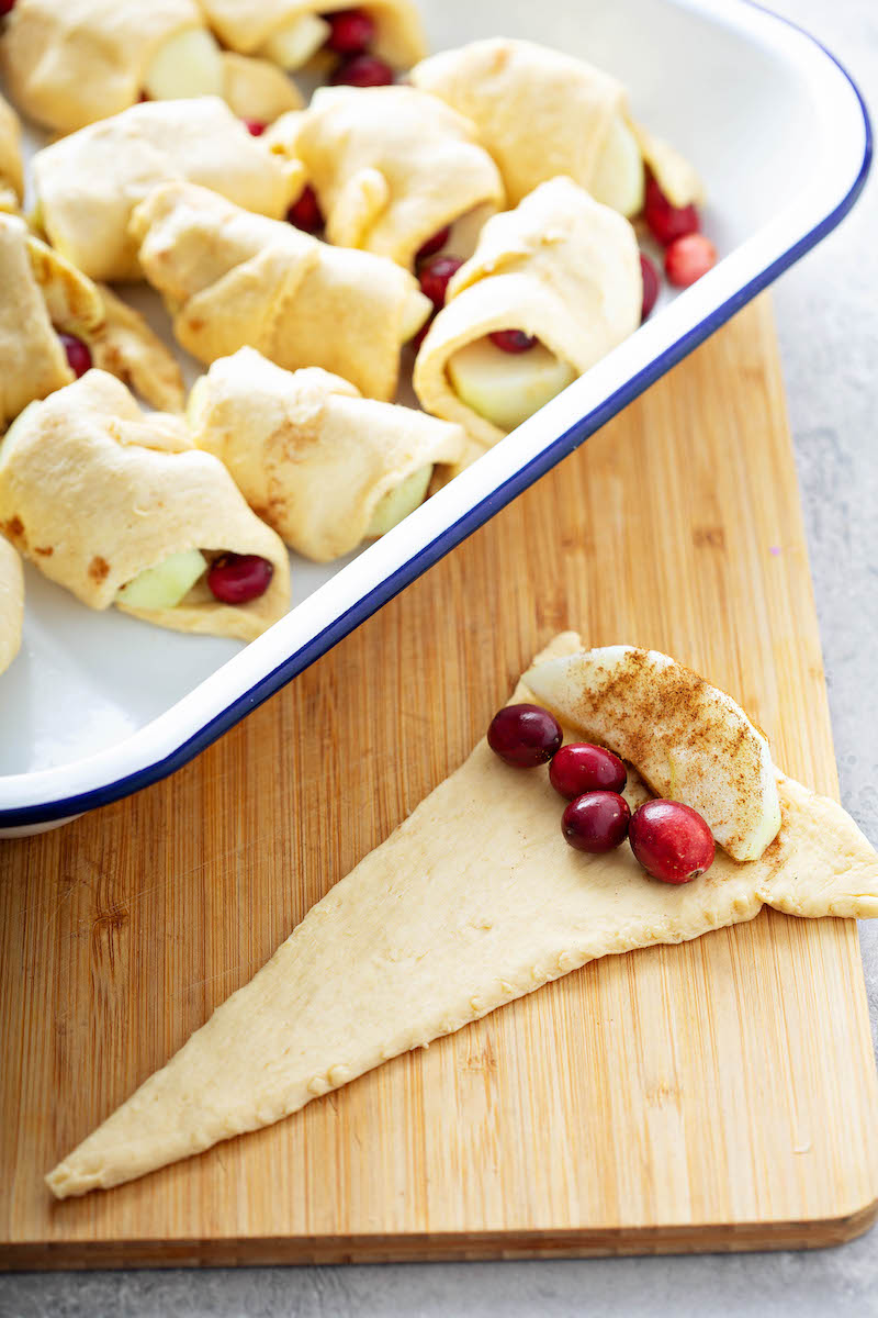 Crescent dough triangle with cranberries.