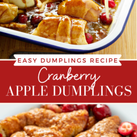 Collage image of apple dumplings with sauce being poured on top and overhead image of baked cranberry apple dumplings.