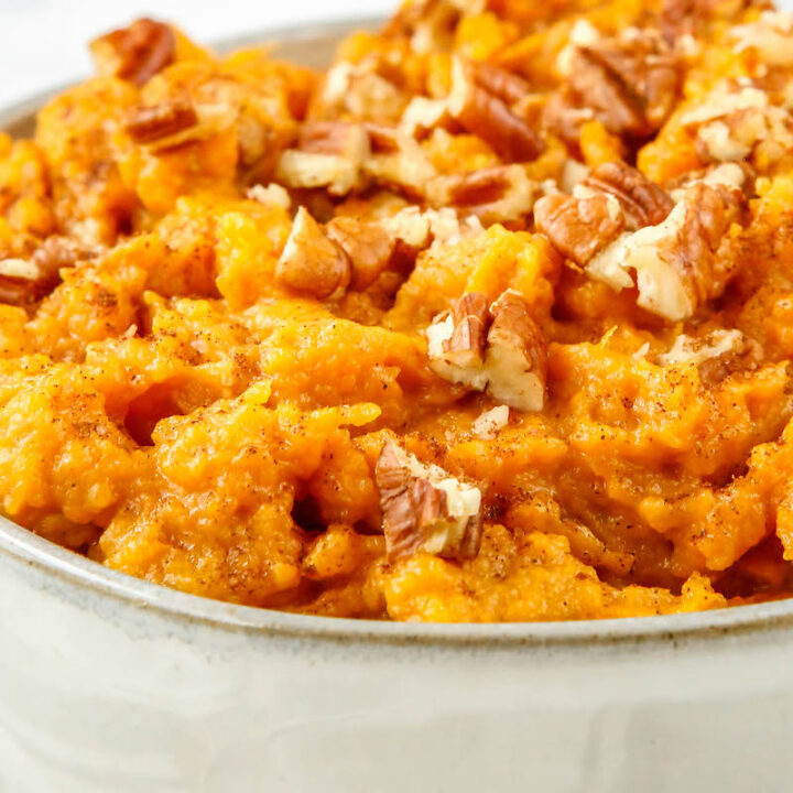 Bowl of instant pot mashed maple sweet potatoes.