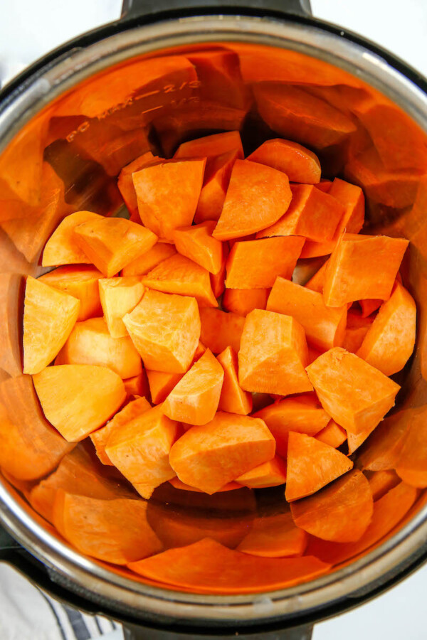 Chopped sweet potato in the instant pot.