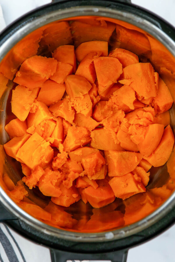 Sweet potato pieces in the instant pot.