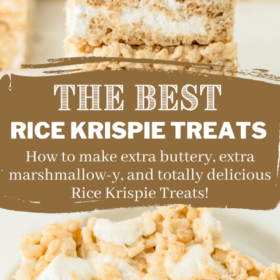 Pinterest collage image of Rice Krispie treats stacked on top of each other and torn apart.