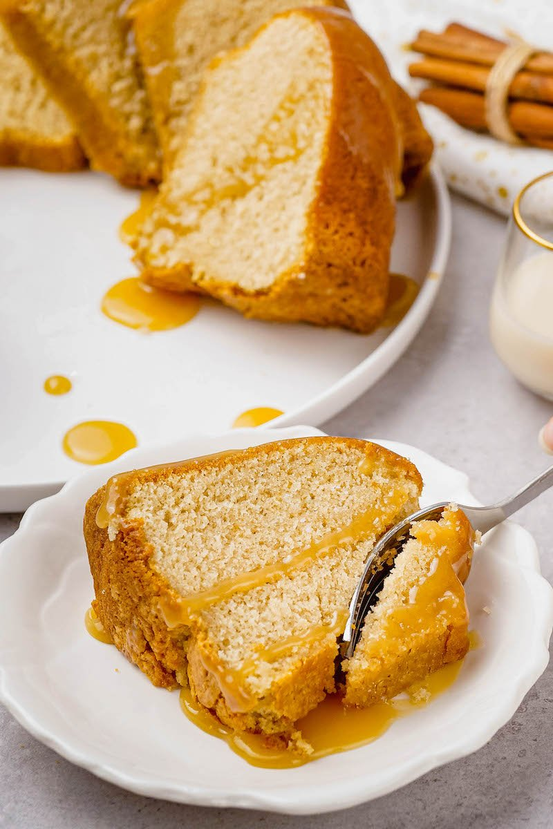 Slice of pound cake with a fork.