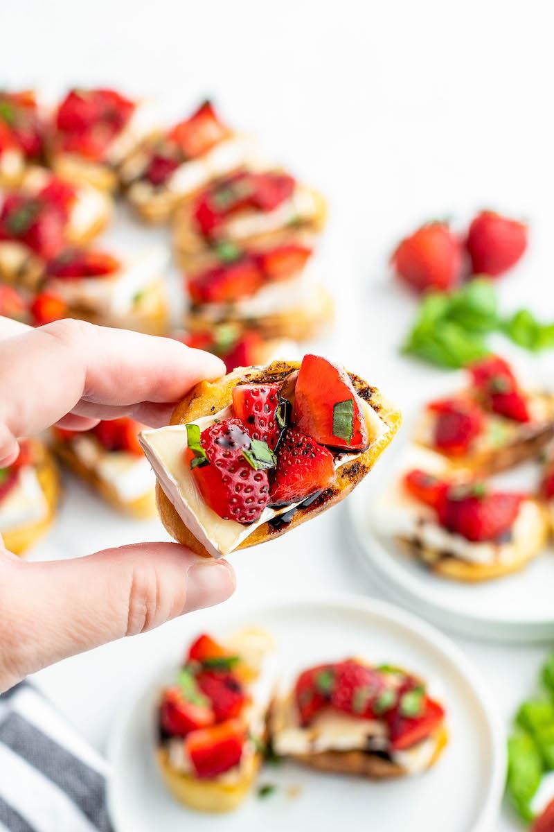 One strawberry brie crostini appetizer.