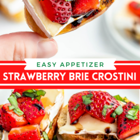 Collage image of a hand holding a crostini with strawberries on top and crostini's with strawberries and brie cheese on top on a white plate.