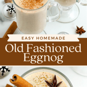 Collage image of eggnog in two glasses and an overhead view of eggnog with cinnamon stick.