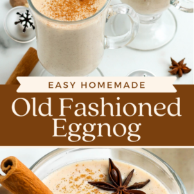 collage image of two glasses of eggnog and up close image of eggnog with cinnamon on top.