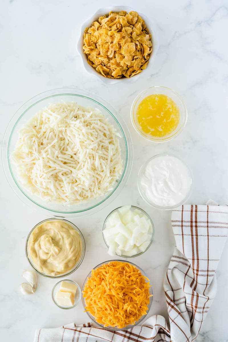 Ingredients for potato casserole.