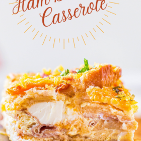 Piece of ham breakfast casserole.