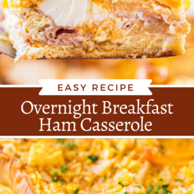 Collage image of ham casserole on a spatula and overnight breakfast casserole in a casserole dish with cornflakes and parsley on top.
