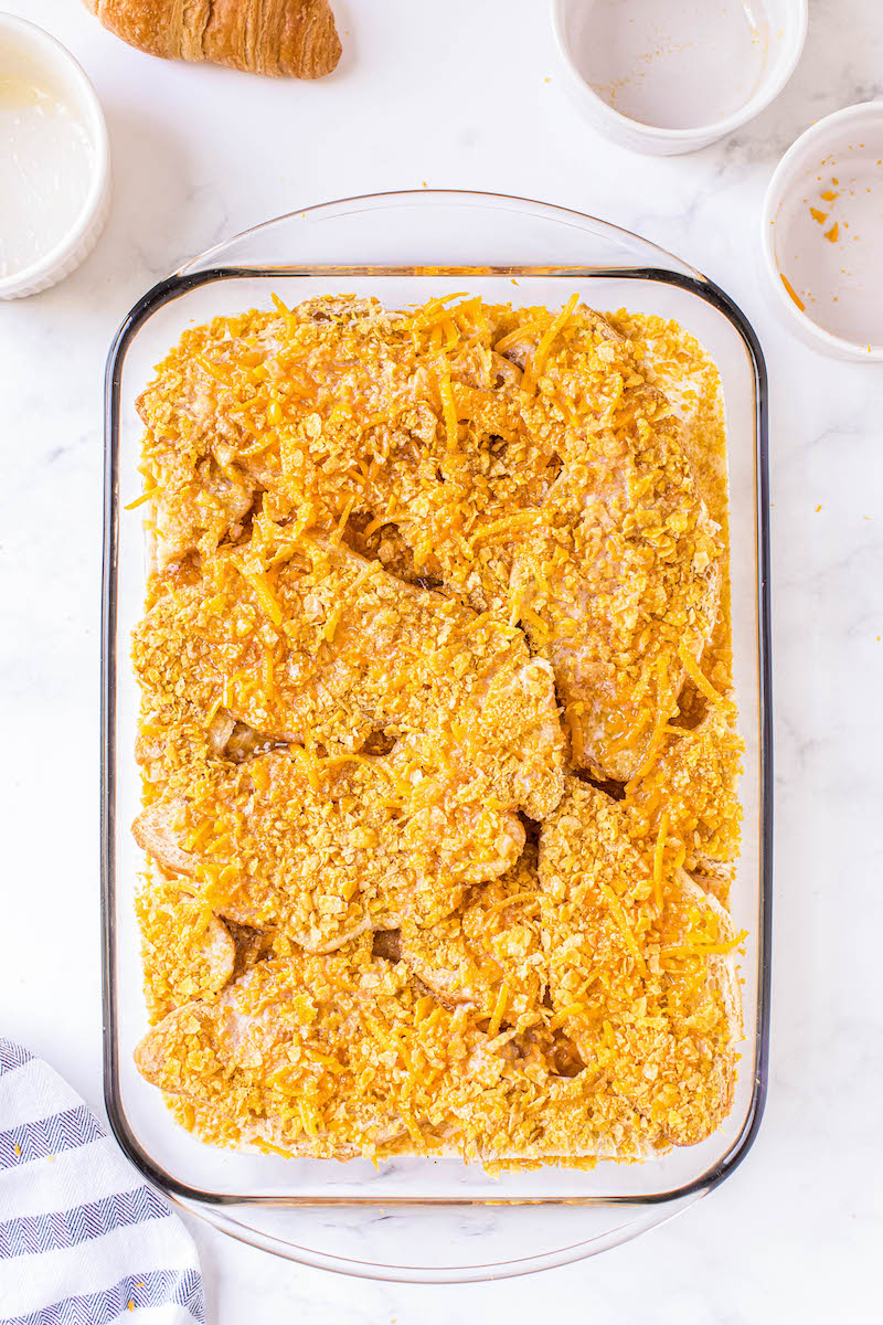 Ham casserole with cornflakes on top.