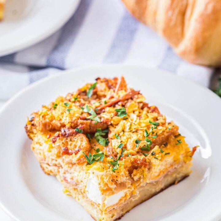 Overnight ham breakfast casserole on a plate.