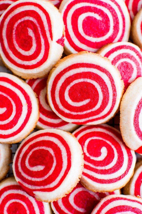 Pile of christmas pinwheel cookies.