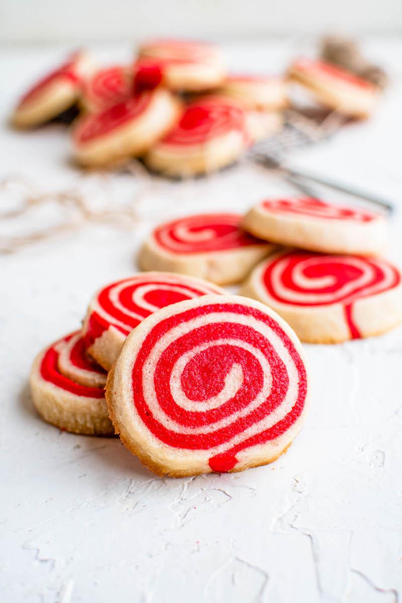 Stack of christmas pinwheel cookies.