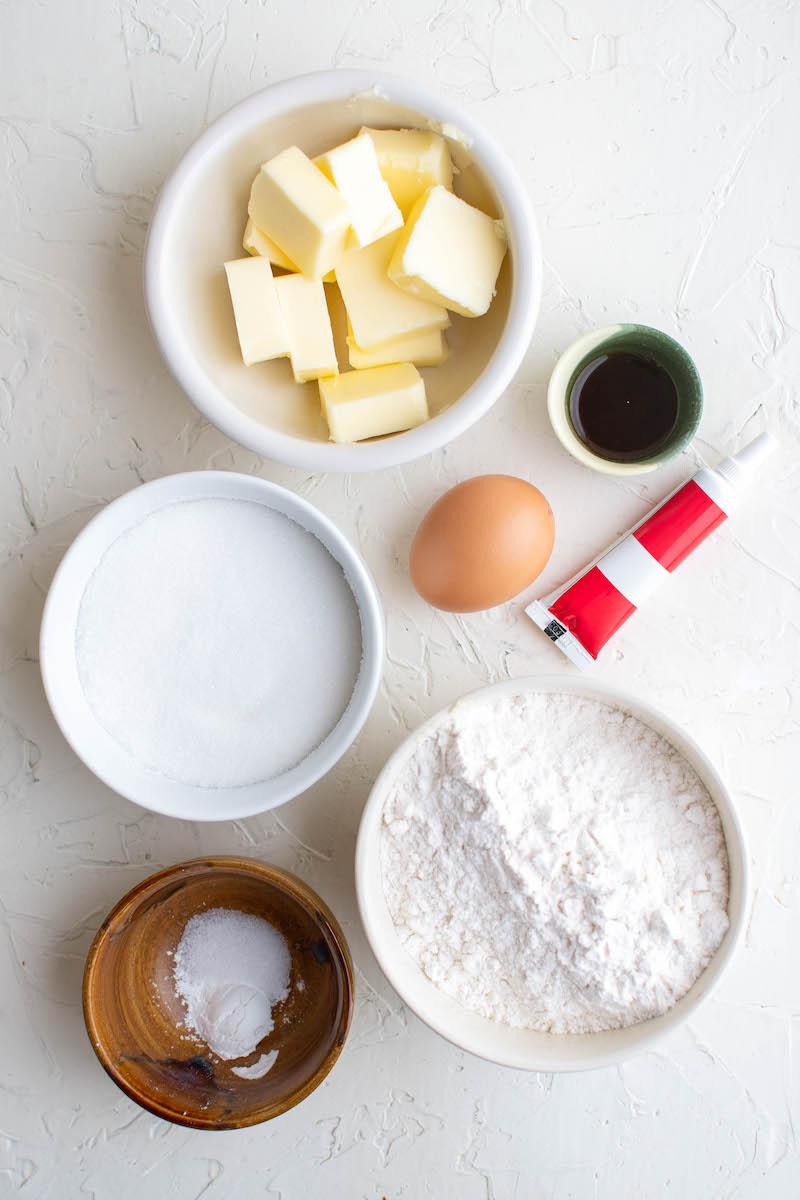 Ingredients for pinwheel cookies.