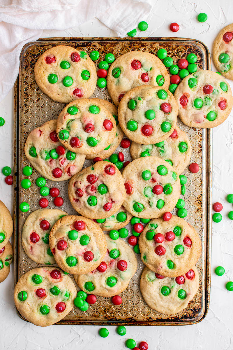 Tray of Christmas M&M cookies.