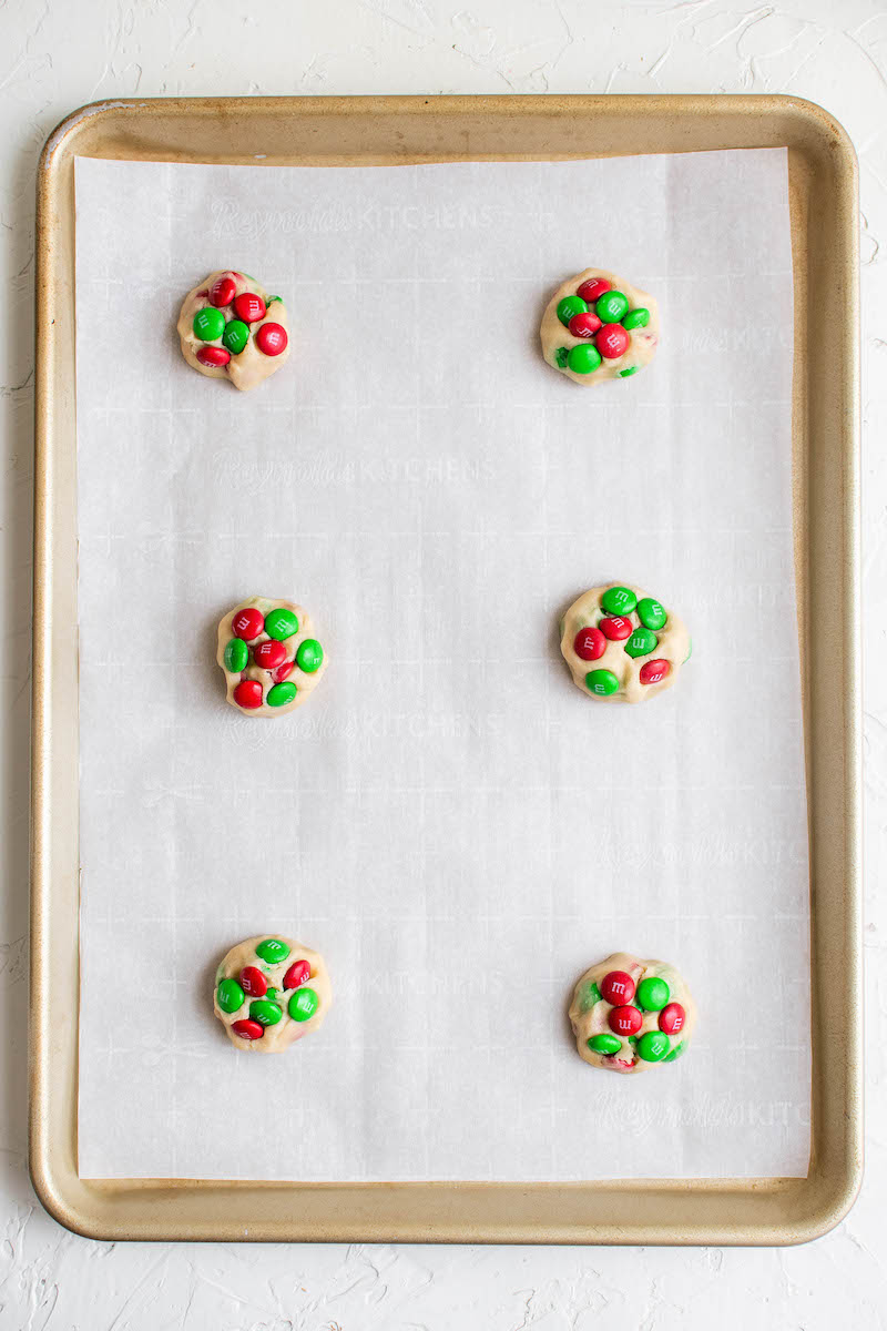 Cookie balls with extra M&Ms added on top.