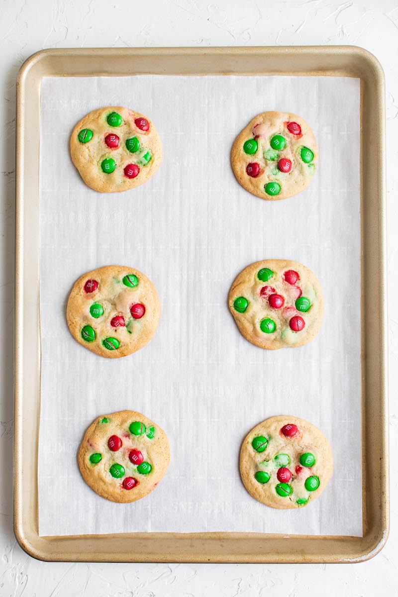 Baked red and green M&M cookies.