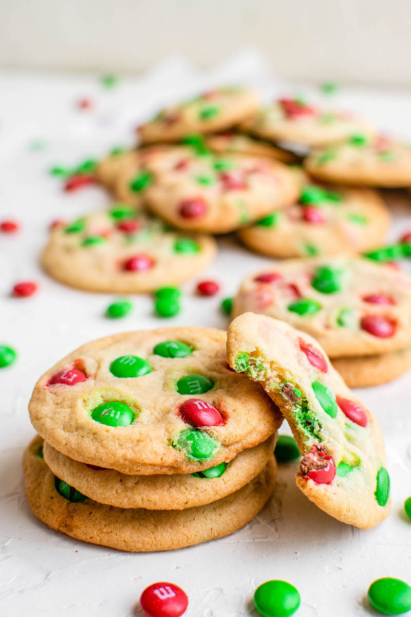 Red and green M&M cookies.