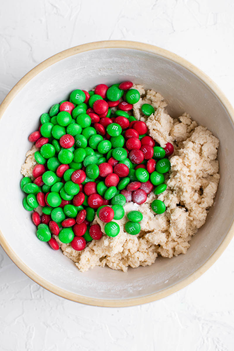 Cookie batter with M&Ms added in.