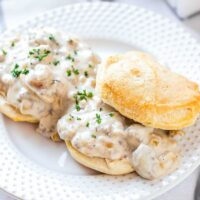 Sausage gravy on biscuits.