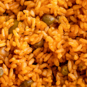 Up close image of Puerto Rican rice with pigeon peas.