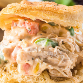 Up close image of chicken pot pie filling stuffed inside a biscuit.