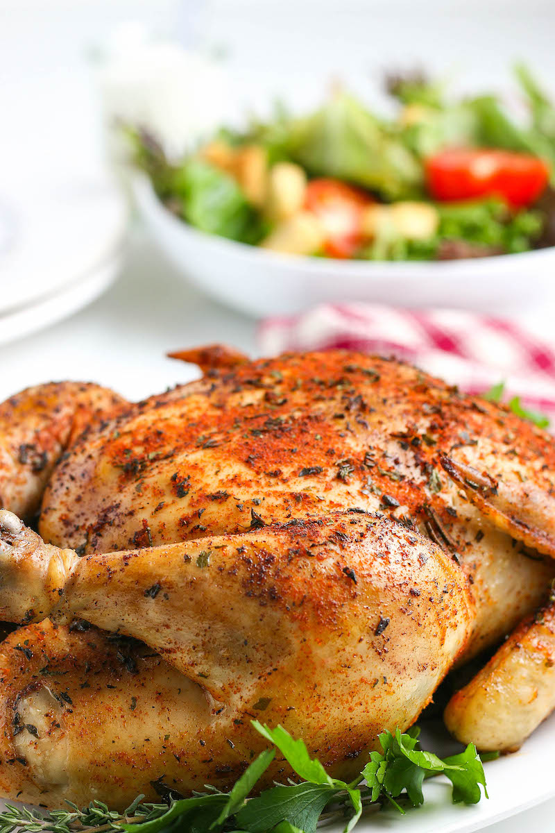Seasoned cooked whole chicken.