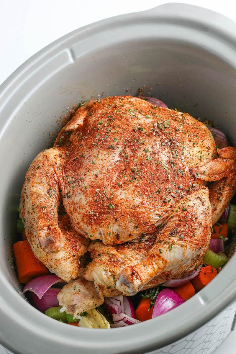 Seasoned chicken in the crockpot.