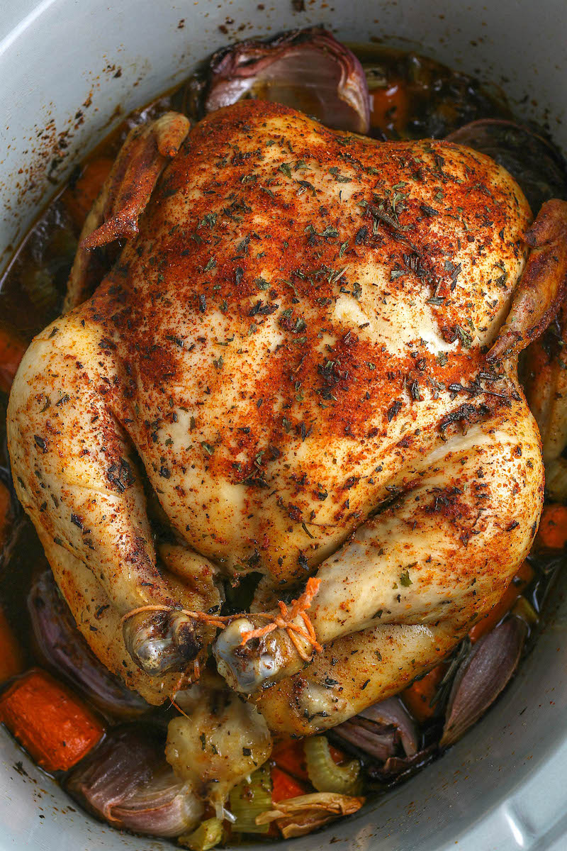Cooked chicken in the crockpot.
