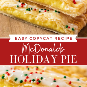 Pinterest collage of holiday pie sliced in half and an up close image of inside of holiday pie.