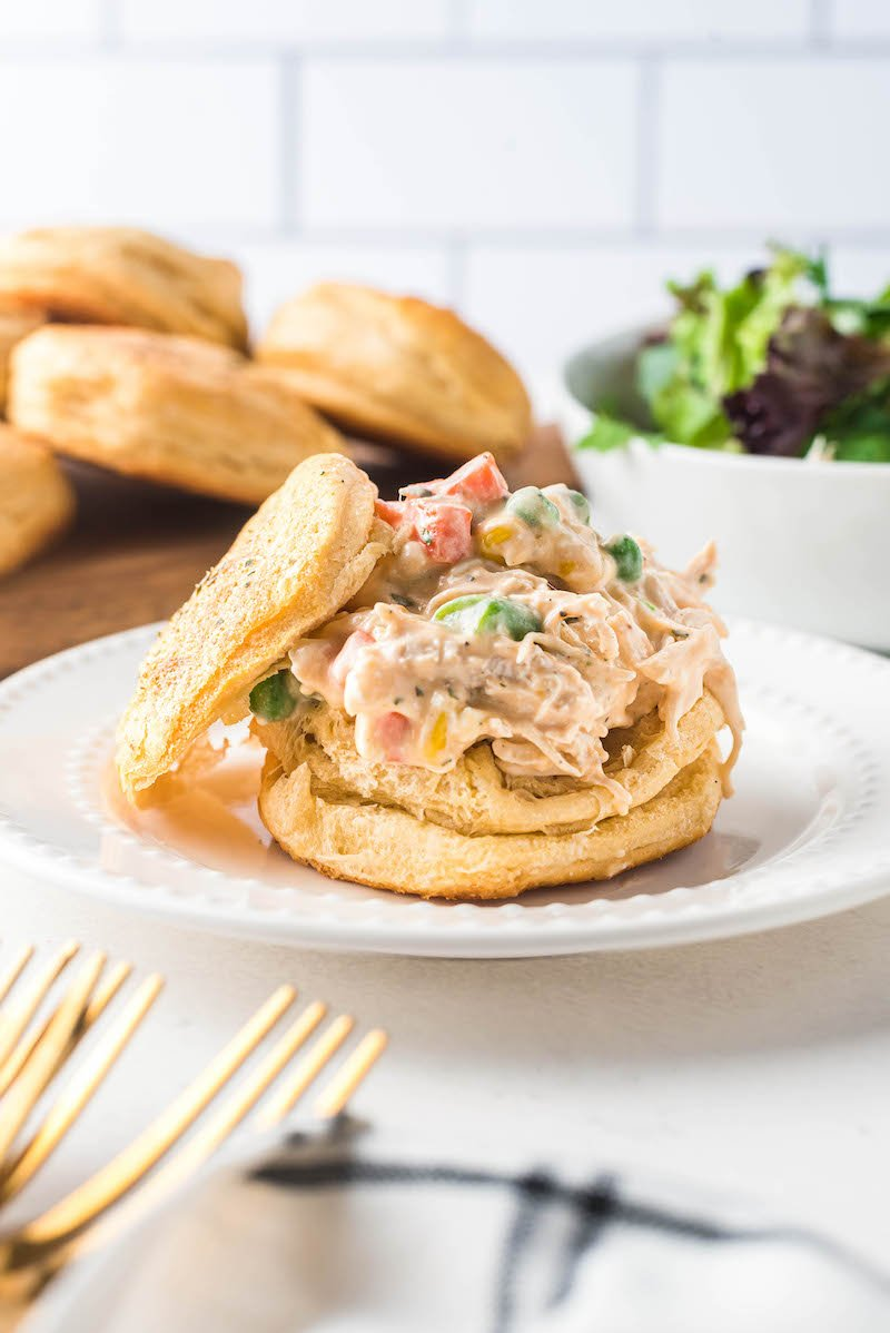 Mini chicken pot pie on a plate.