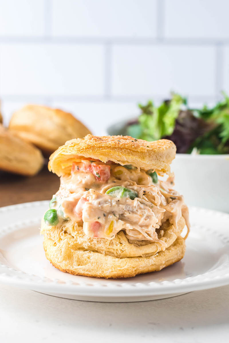 Mini ranch biscuit chicken pot pie on a plate.