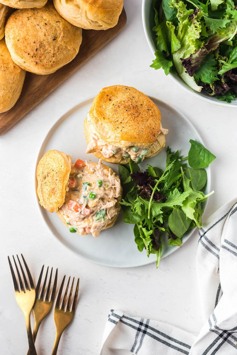 Chicken pot pie biscuits with a side salad.