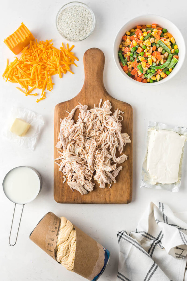 Ingredients for ranch biscuit chicken pot pies.