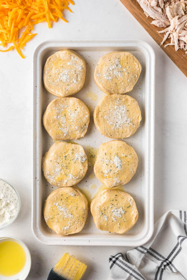 Biscuits with ranch seasoning on a tray.