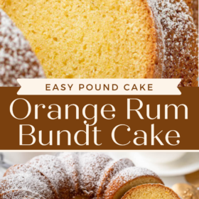 Orange Rum Bundt Cake with two images. First image is sliced cake up close and the second image is a whole bundt cake sliced on a wire cooling rack.