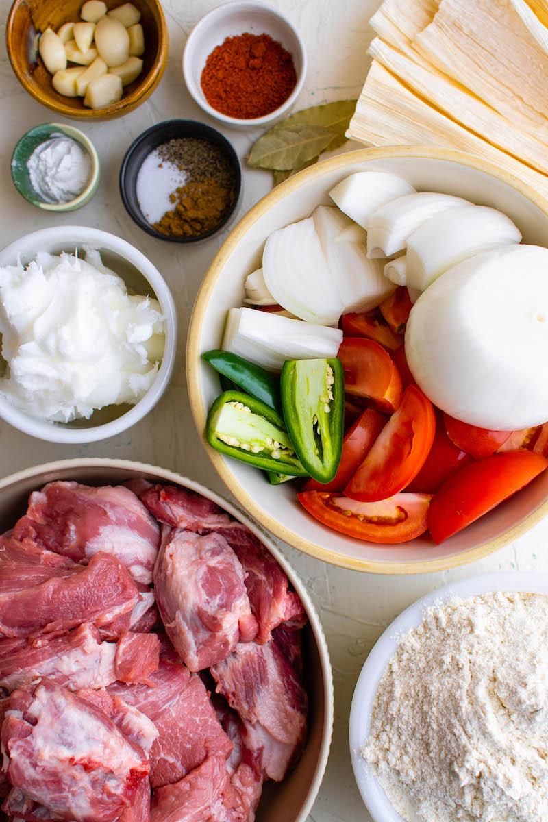 Ingredients for pork tamales.
