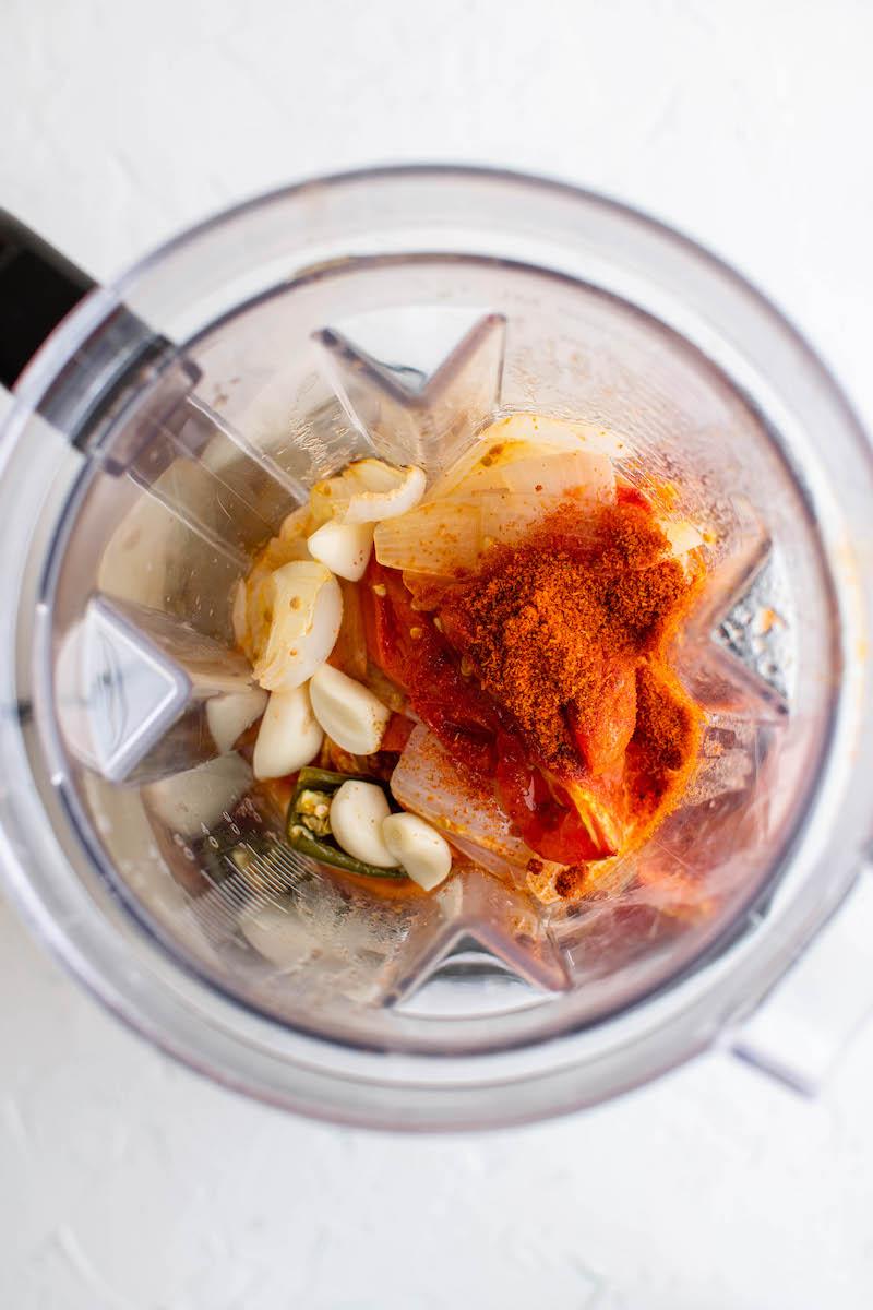 Vegetables in a blender.
